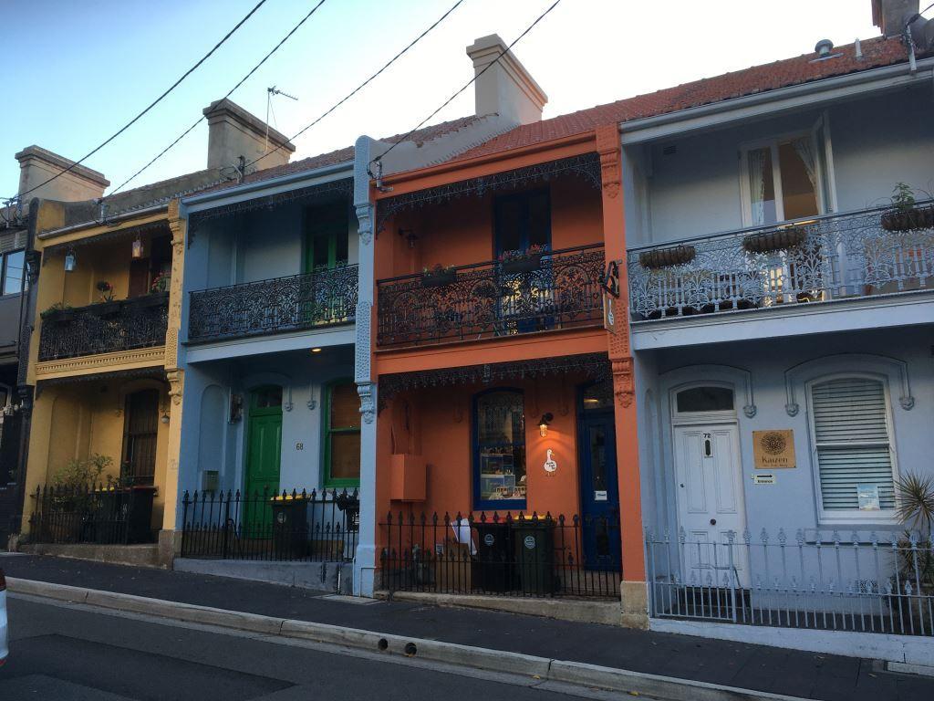 Row of coloured houses in Paddington, Sydney