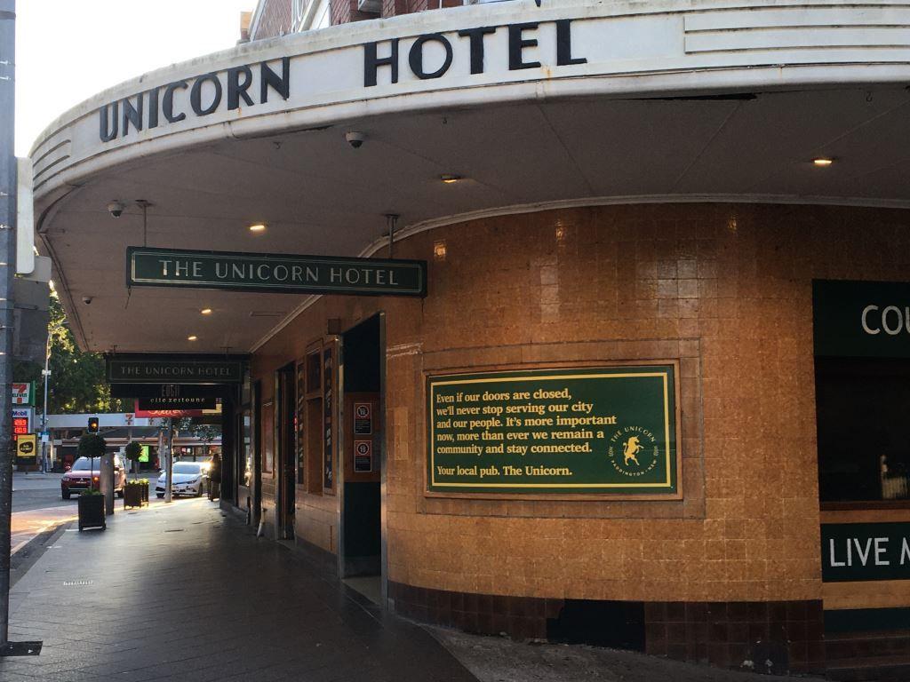 Art deco front of the Unicorn Hotel, Paddington, Sydney
