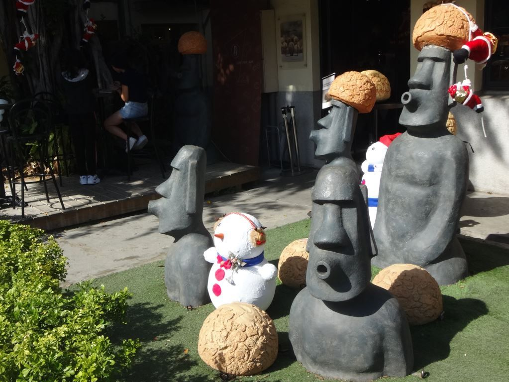 Easter Island Statues with creme puffs on their head in Taichung