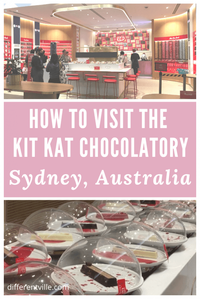 Pin image for blog post on how to visit the KitKat Chocolatory, Sydney with image of shop and the KitKat sushi train