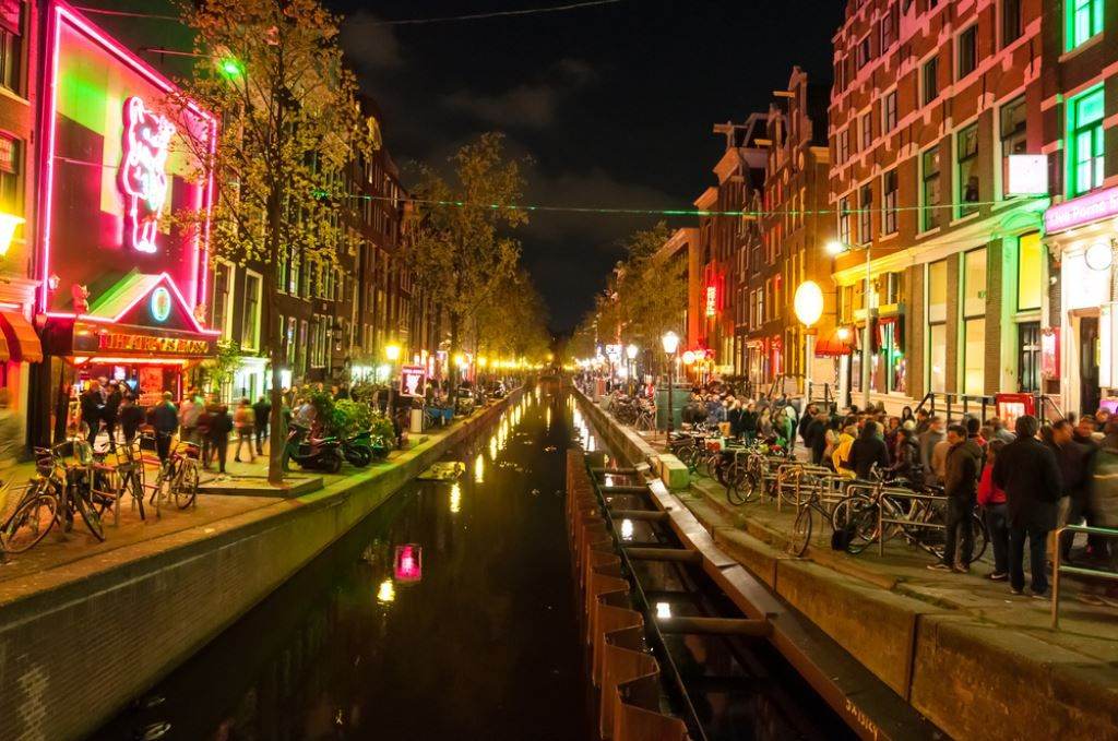 street shot of the red light district in Amsterdam