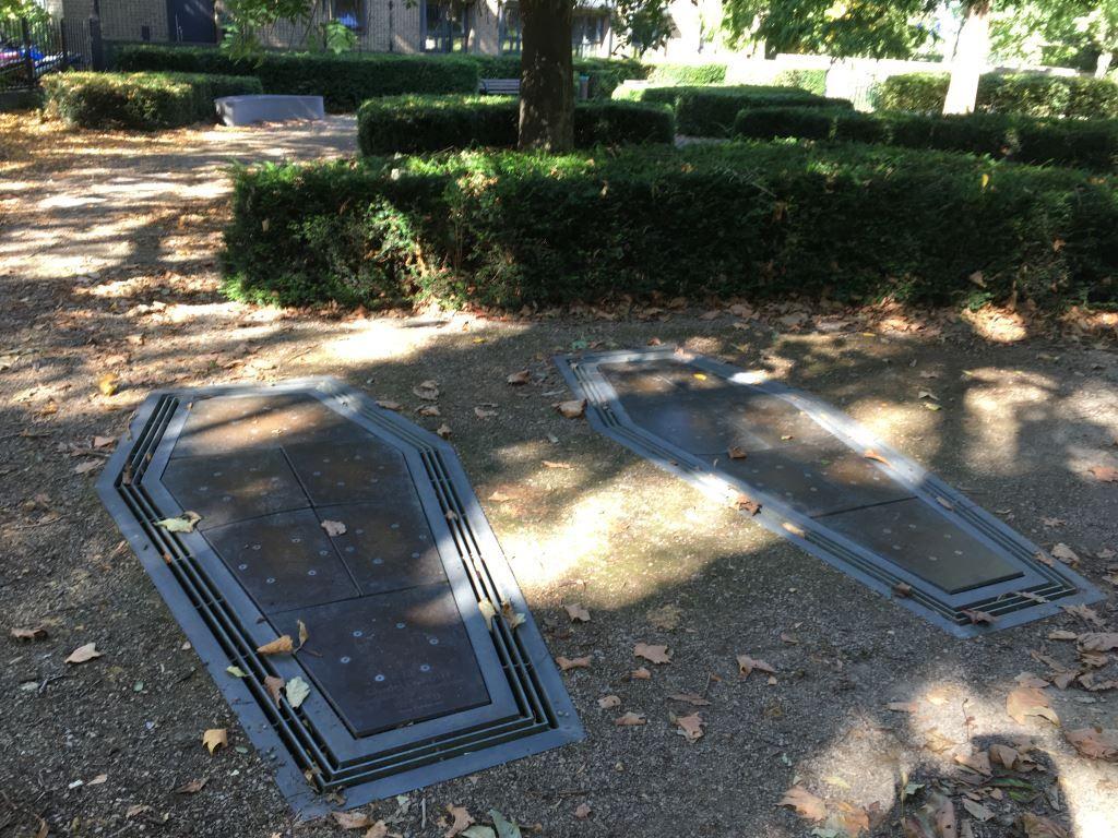 Two coffin shaped gravestones in London's Kings Cross