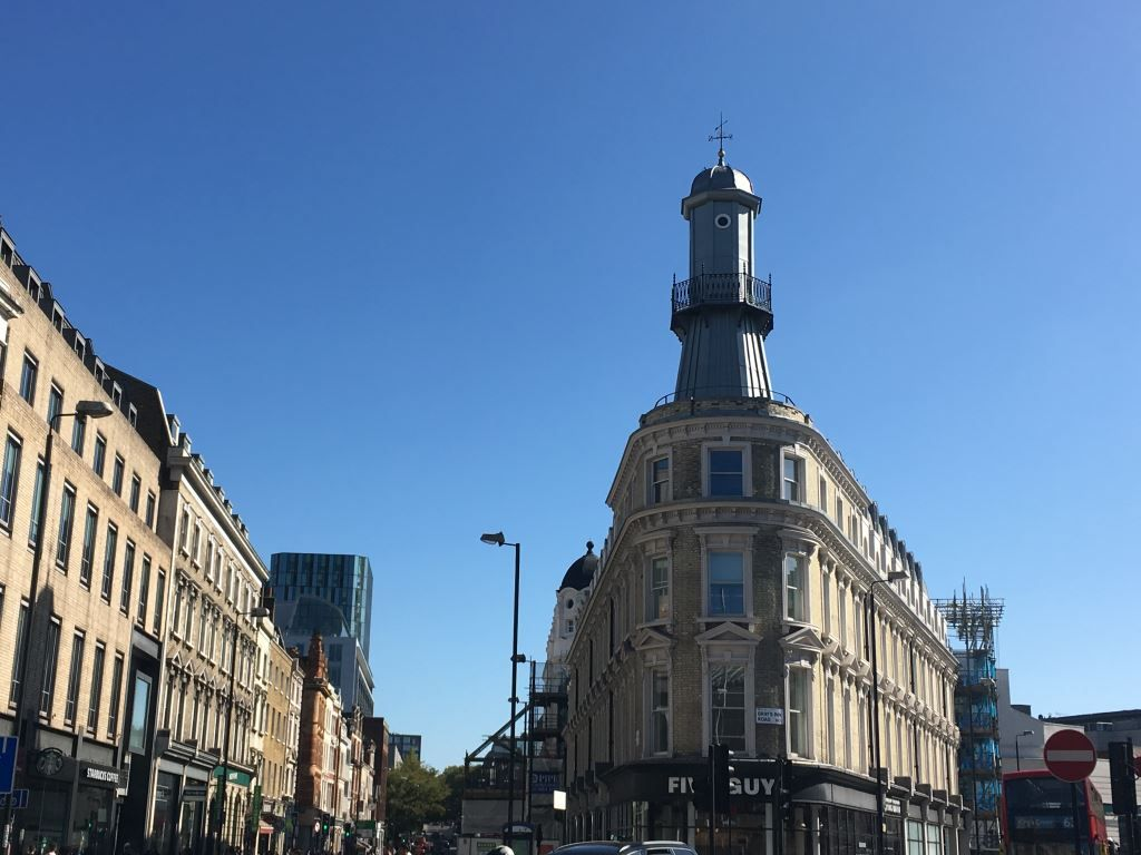 A mini light house on the roof of a building in London's Kings Cross