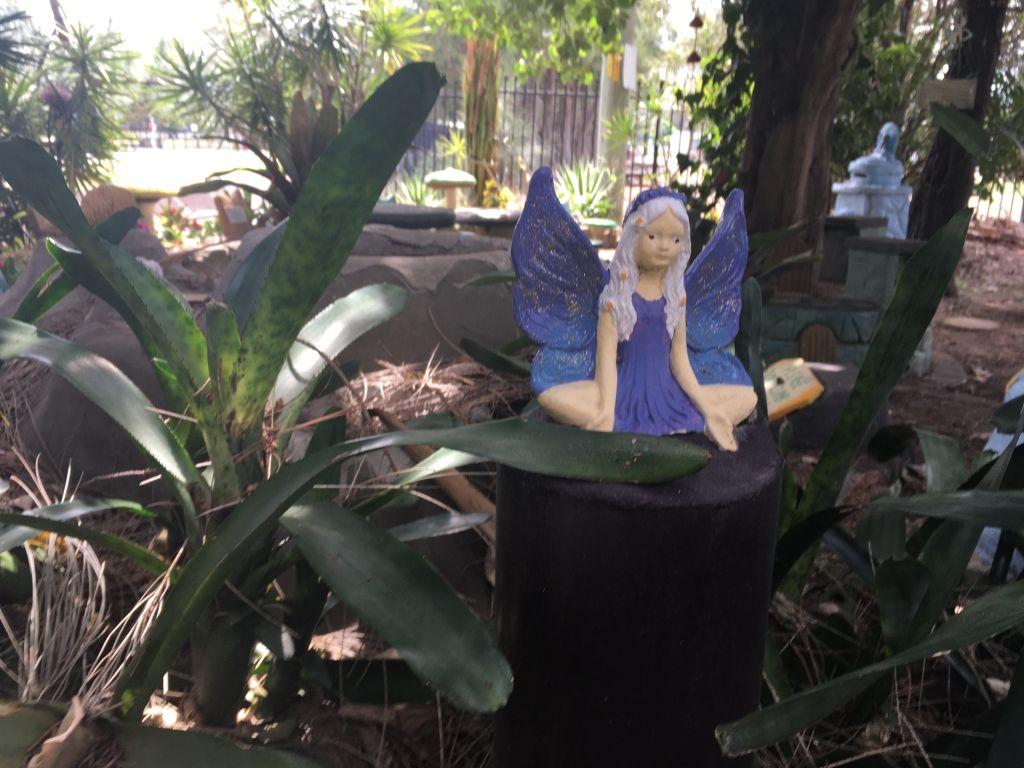 Blue fairy statue in the fairy garden newcastle NSW