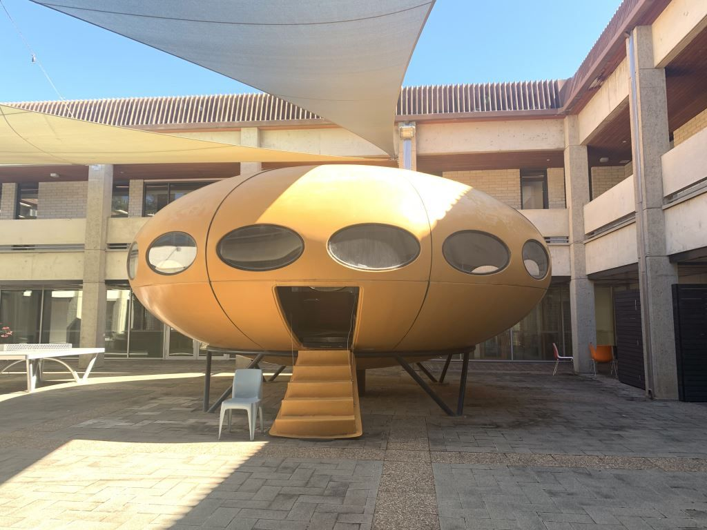 yellow futuro house in Canberra