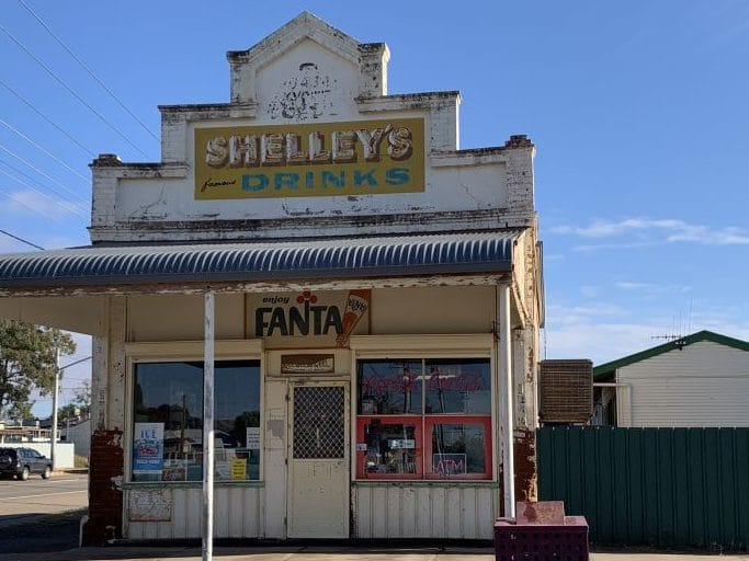 old store in Broken Hill  it has a Shelly's Drinks sign on the front