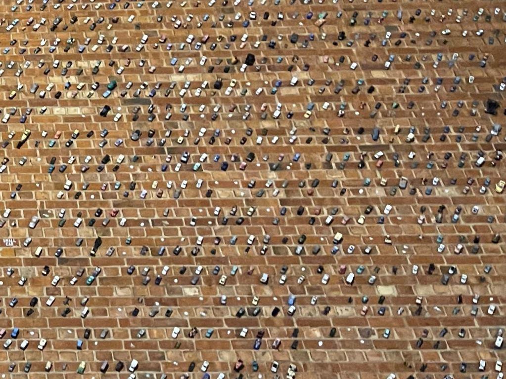 Wall full of tiny Matchbox cars in Adelaide, Australia